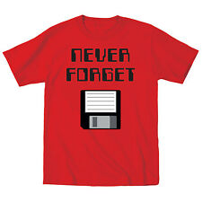 Never Forget with Floppy Disk Nerd Geek Humor Computer Funny Tee - Mens T-Shirt