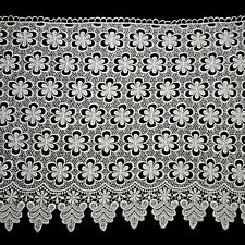 "Lily 15.25"" White Floral Guipure Venice Lace Scalloped Edge by Yardage"