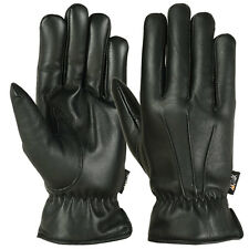 Mens Warm Winter Gloves Dress Glove Thermal Lining Genuine Leather, Black