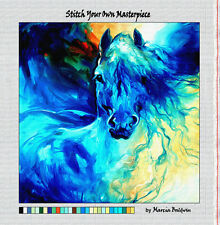 """""""EQUUS BLUE GHOST"""" HORSE--Needlepoint Canvas Zweigart Mono Deluxe: 2 Sizes"""