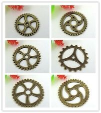 Antiqued Style Bronze Tone Alloy Different Sizes Gears Pendant Charms Finding