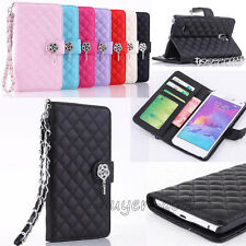 Wristlet Bling Leather PU Wallet Flip Case Cover For Samsung Galaxy Note 4/S6