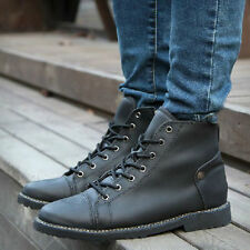 Mens Ankle Boots Faux Leather Shoes Lace up Zipper Slip On Pull up Casual New S4