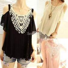 Fashion Women Casual Batwing Chiffon Lace Short Sleeve Loose Blouse Tops Shirt