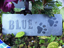 Carved Cornish slate Pet memorial garden plaque, marker, dog, cat, personalised