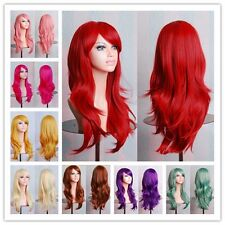 10 Colors Multi-color Women Long Wavy Wigs Cosplay Costume Full Lace Wig Hot