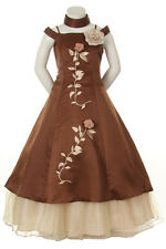 New Girl National Pageant Wedding Easter Formal Dress Brown sz 4 6 8 10 12 14 16