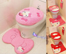 Lovely Hello Kitty Toilet Seat Cover Cushion And Rug Bathroom Mat Home Decor Set