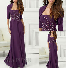 Long Purple Evening Party Ballgown Mother Of Bride Dresses with Jacket 6.8.10.12