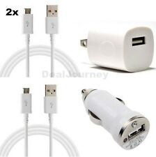 White Car & Wall Charger + 2x 10FT Micro USB Cables for Samsung LG Nokia HTC