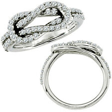 0.55 G-H Diamond Designer Love Knot Engagement Promise Women Ring 14K White Gold