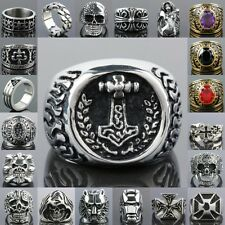 Punk Men's Skull Head Totems Claw Number 33 Cross Stainless Steel Finger Ring