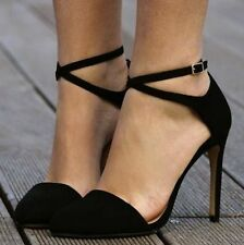 AUTHENTIC ZARA BLACK VAMP HIGH HEEL POINTED SHOES WITH ANKLE STRAP BRAND NEW