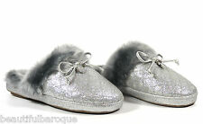 Michael Kors Carter Metallic Silver Glitter Quilted Fur Slip On Slippers Size 6