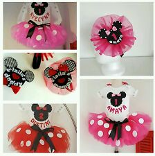 Minnie Mouse Baby/ Toddler Girl Birthday Tutu, Handmade & Personalized, 5 pieces