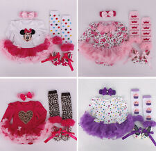 Newborn Kids Baby Girl Headband+Romper+Leg Warmers+Shoes Outfit Clothes Set 0-9M