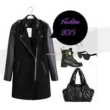 Women's Fashion PU Leather Sleeves Stand-up Collar Coat Jacket Wool Outwear Coat