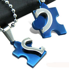 New Chic Men's Women's Couple Stainless Steel Love Heart Puzzle Pendant Necklace