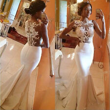 Women Formal Lace Prom Ball Wedding Long Maxi Dress Bridesmaid Evening Gown