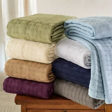 All-Season Luxurious 100% Cotton Basket Weave Solid Color Blanket