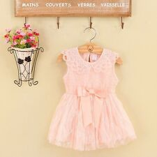New Baby Girls Toddler Pageant Chiffon Fairy Princess Lace Embroidery Bow Dress