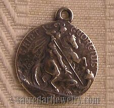 Antique Religious Medal Pendant Sterling Silver / Bronze St George Sailing #752