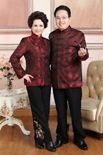 dark red Chinese Middle-aged couple clothes Men's/women's silk/satin jacket coat