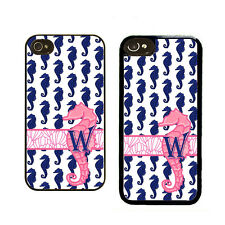MONOGRAMMED iPHONE 4 4S 5 5S 5C CASE RUBBER COVER  PINK AND BLUE SEA HORSE