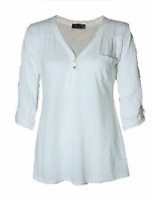 WOMENS LADIES V - NECK DIAMOND BUTTON VISCOSE 3/4 TURN-UP SLEEVE T - SHIRT 8 -20