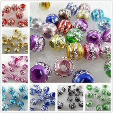 Wholesale X-Shaped Pattern Big Hole Carved Aluminium Spacer DIY Craft Beads 10mm