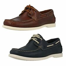 Mens Clarks Nautic Bay Mahogany Or Navy Leather Lace Up Boat Shoes