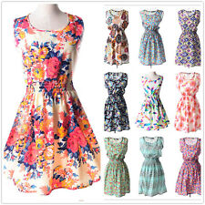 Womens Summer Beach Sleeveless Dress Slim Casual Stretch Sundress 21 Patterns