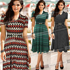 Women Vintage Pinup Polka Dot A Line Casual Party Summer Midi Skater Dress 271