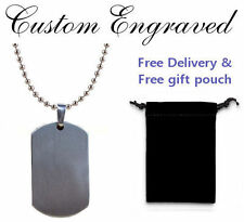 Engraved / personalised Dog Tag chain in gift pouch, perfect present (ref-dtfs)