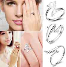 cute clear silver ring finger white gold plating opening Adjustable GIFT 3 style