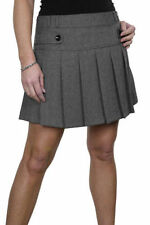 NEW (2505)  Ladies Fully Lined Washable Pleat Check Mini Skirt Grey 10-18