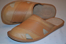 Mens Natural Leather Slippers Shoes Sandal Handmade From Poland Slip on All Size