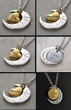 """""""I Love You to the Moon and Back"""" Necklace Heart Mom Daughter Silver Gold Tone"""