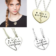 BFF Best Bitches Friends Sister Chain Necklace Sliver Gold Break Heart Pendants