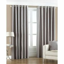 Faux Silk Fully Lined Eyelet Curtain Pair including Tiebacks