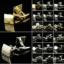 Lot Stainless Steel Golden Silver Vintage Jewelry Wedding Gift Men's Cuff Links