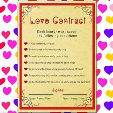 Romantic Valentine's gift - PERSONALISED LOVE CONTRACT for your wife, girlfriend
