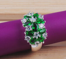Fashion Round  cut  Emerald  gemstones  925sterling silver ring size7 8 9  M189