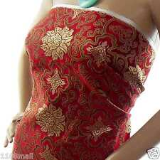 Faux Silk Chinese Brocade Fabric(Hot Red w Dull Gold Wealthy) Embroiderecbs 2015