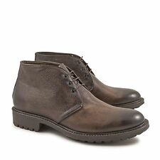 Handmade men's bootis with laces in chocolat calf italian leather Made in Italy