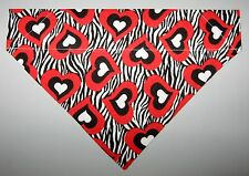 Zebra Stripes & Hearts Dog Bandana Scarf-Slide over Collar-Size Small to XLarge