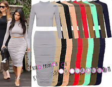 WOMENS LADIES CELEBRITY INSPIRED KIM KARDASHIAN TOP BODYCON SKIRT DRESS SUIT