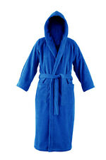 Men's Blue Hooded Cotton Terry Towelling Bathrobe by John Christian (M,L,XL,XXL)