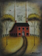 "JON243 Bless Our Home John Sliney 12""x16"" framed or unframed print primitive"