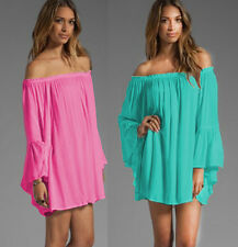 Womens Sexy Off Shoulder Beach Loose Shirt Ruffle Sleeve Tops Swimwear Cover Ups